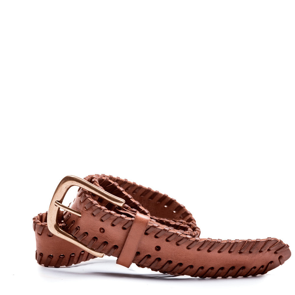 Linea Pelle Laced Edge Hip Belt in New Cognac