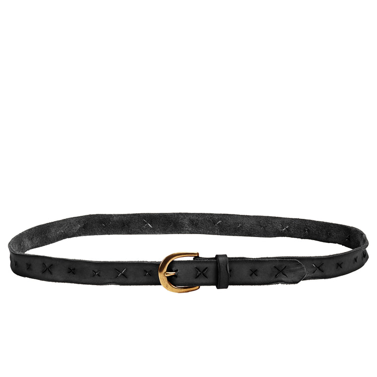 Linea Pelle Skinny X Belt in Black