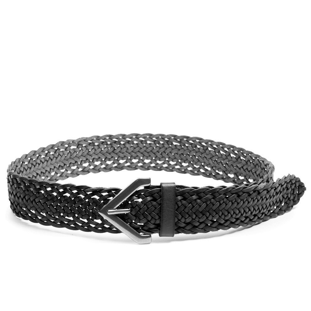 Linea Pelle Braided Triangle Buckle Belt in Black