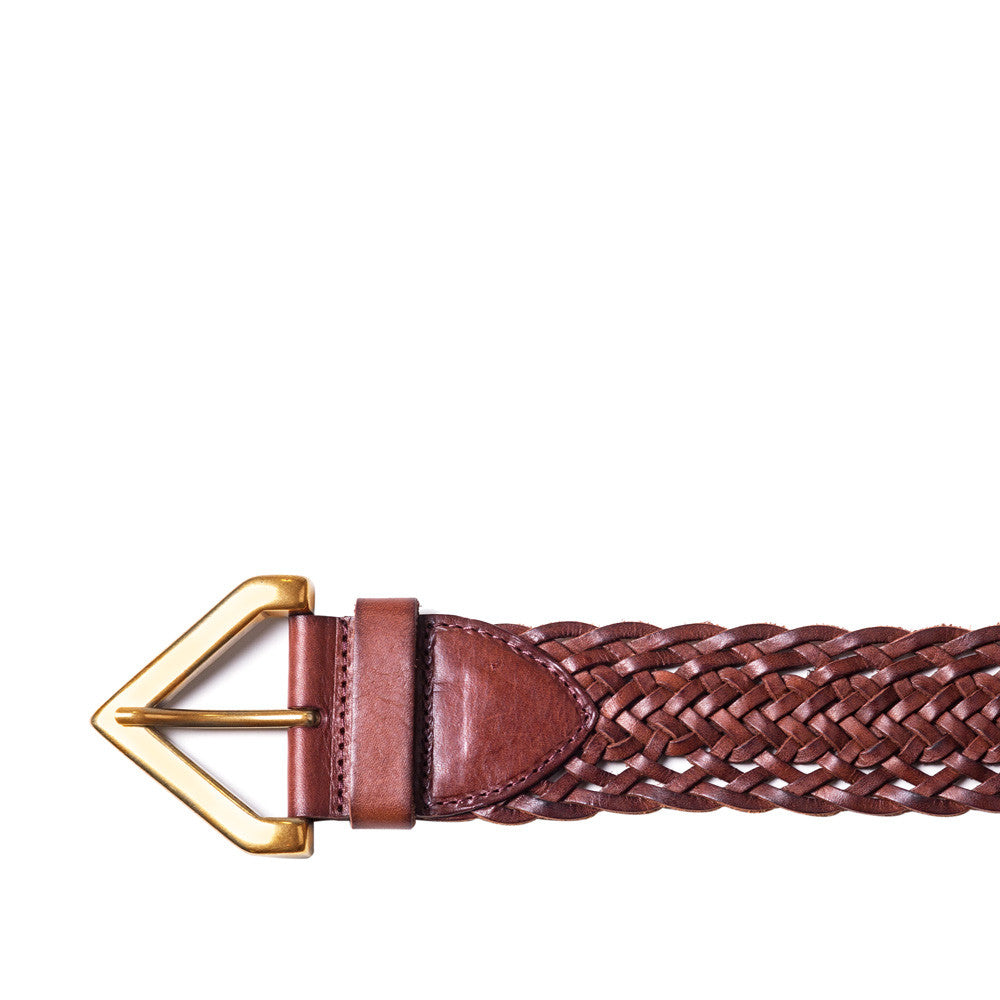 Linea Pelle Braided Triangle Buckle Belt in Rust