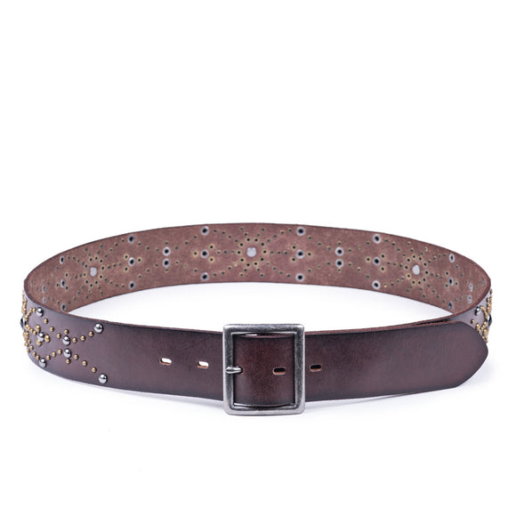 Studded Onyx Vintage Belt | Dark Brown