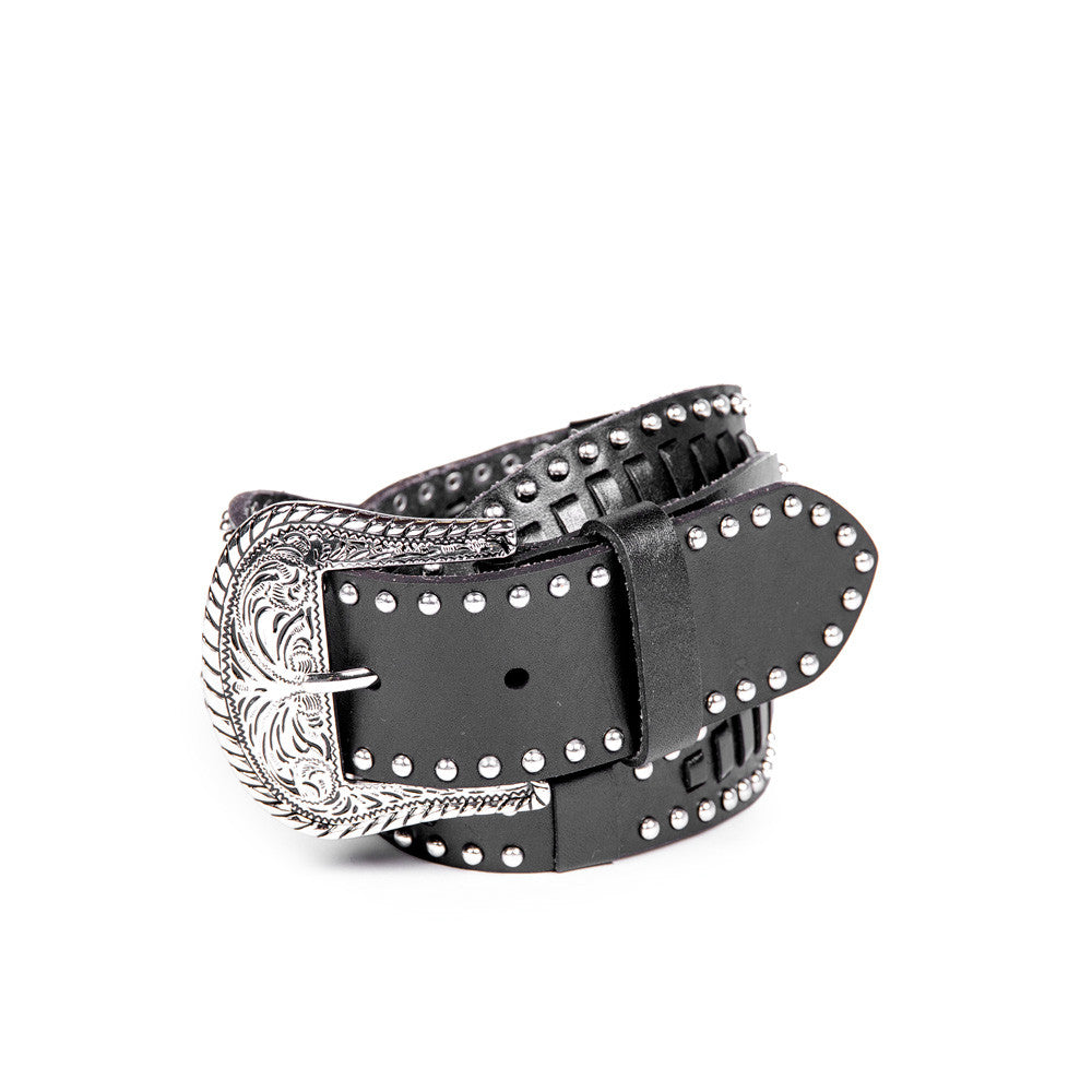Linea Pelle Laced Western Hip Belt in Black
