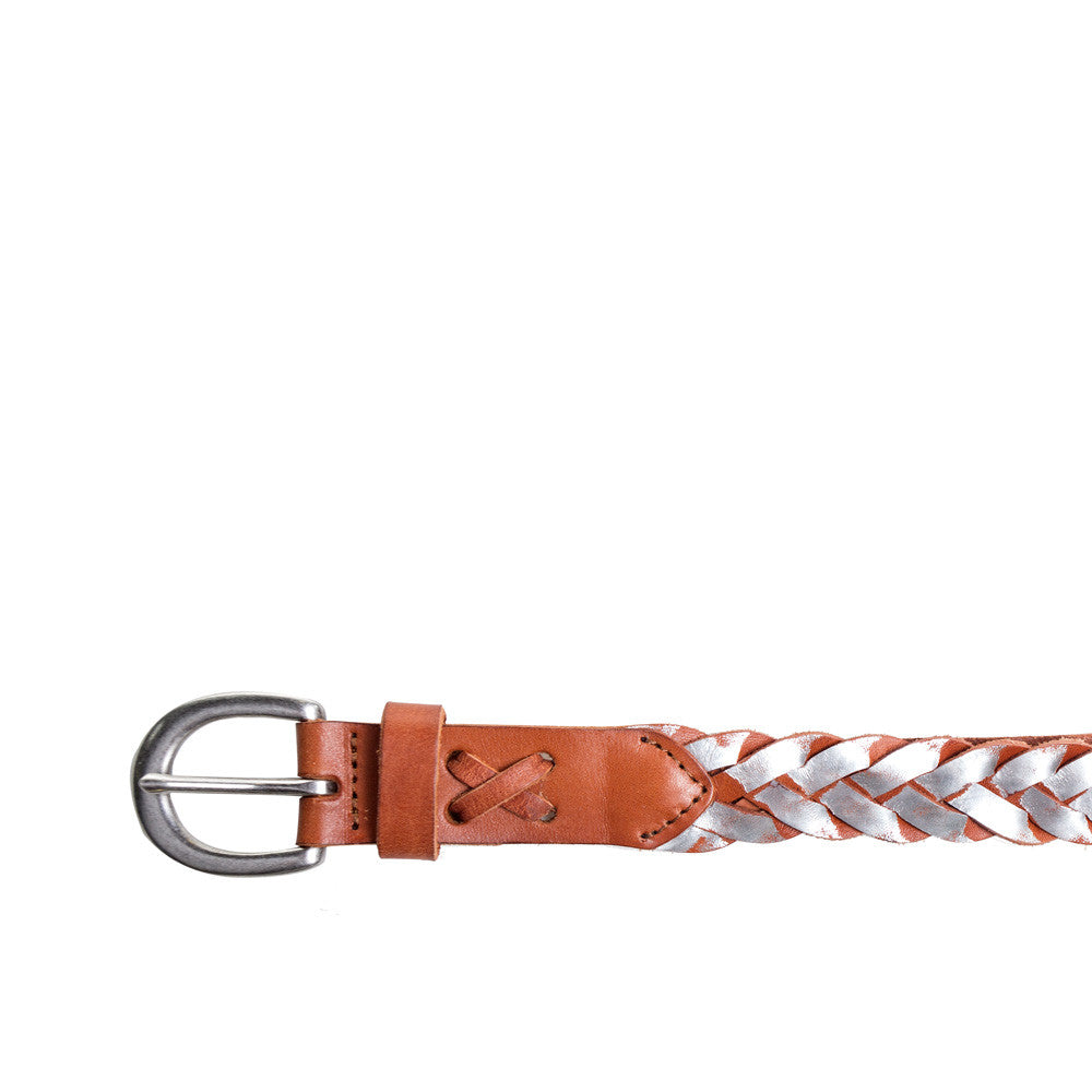 Linea Pelle Skinny Metallic Braid Belt in Natural Silver