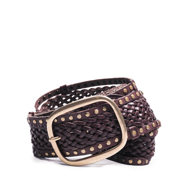 Linea Pelle Edge Stud Braided Belt in Tmoro