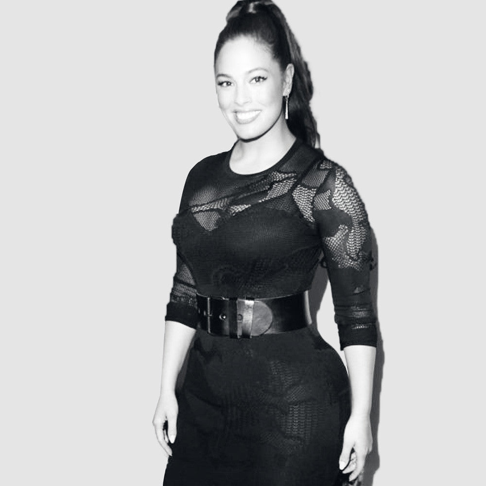 Ashley Graham wearing the Wide Waist Belt in Black by Linea Pelle!
