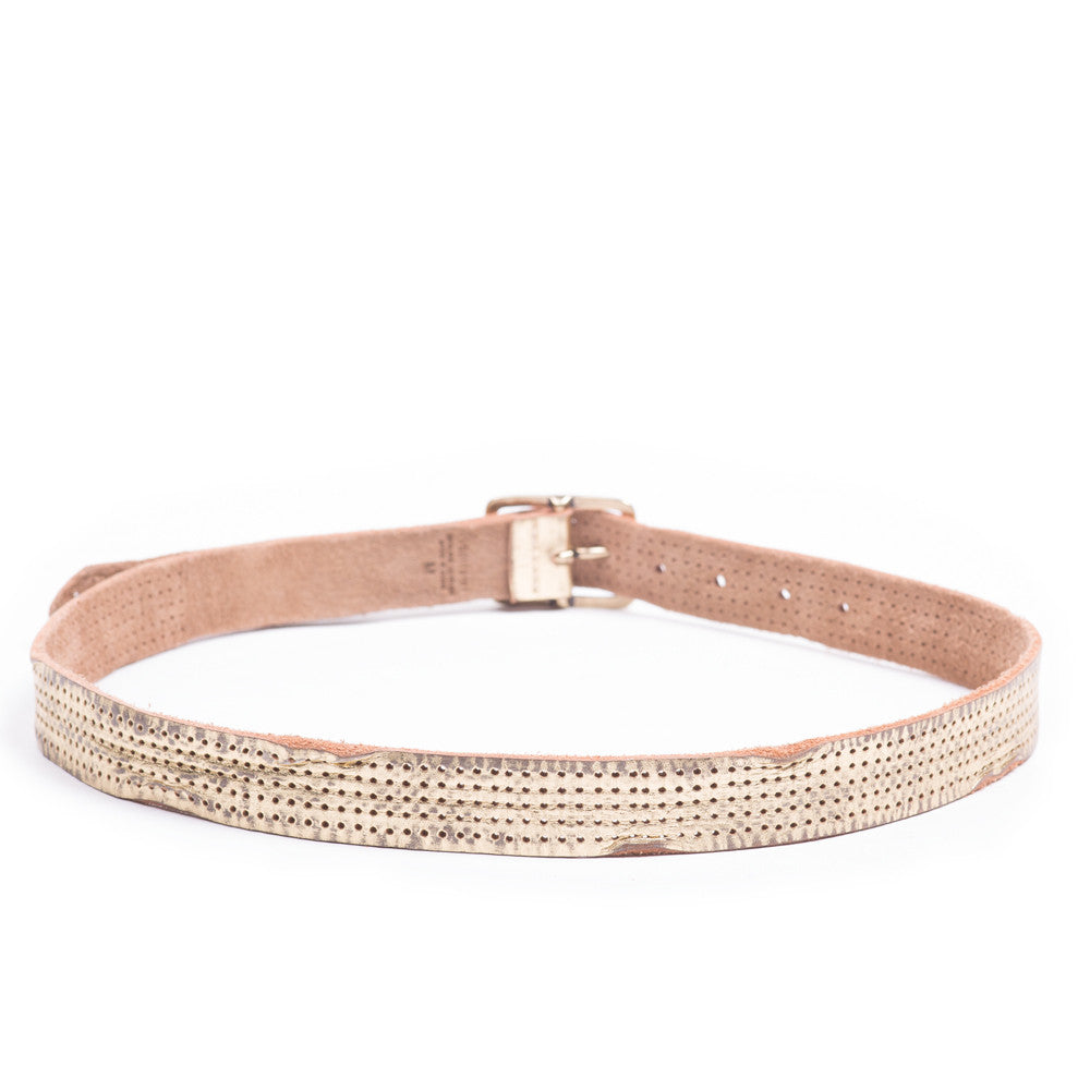 Linea Pelle Skinny Perforated Belt in Gold