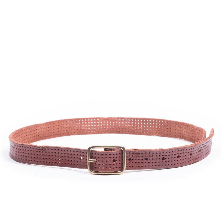 Linea Pelle Skinny Perforated Belt in Tmoro