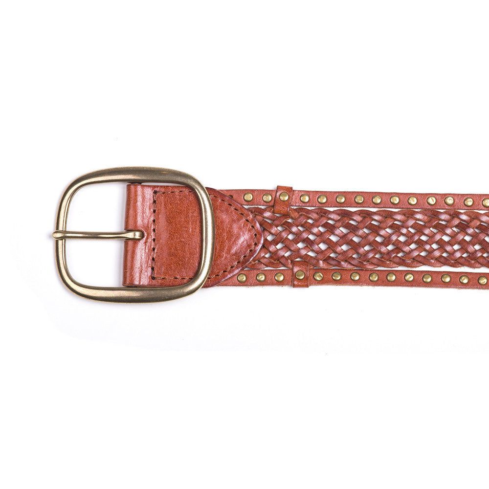 Linea Pelle Edge Stud Braided Belt in Cognac