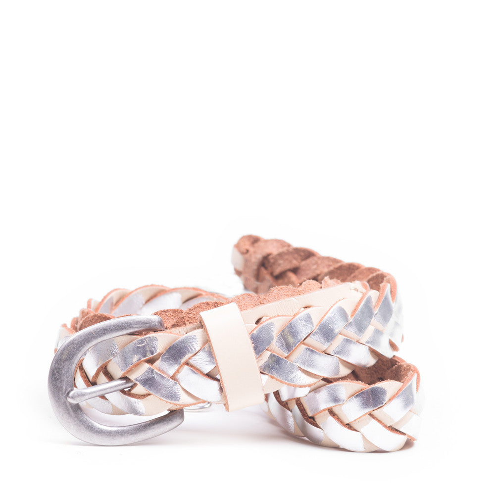 Linea Pelle Skinny Metallic Braid Belt in Milk and Silver