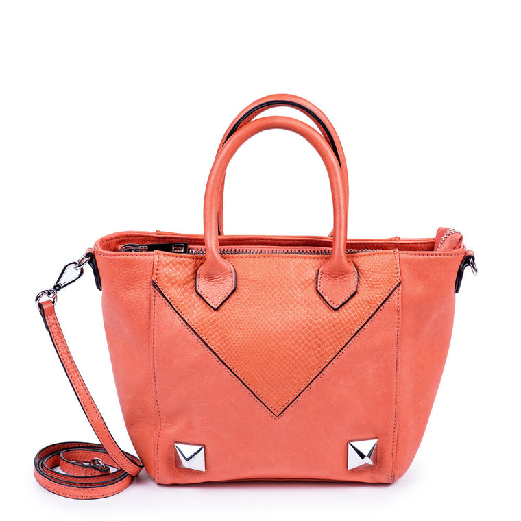 Linea Pelle Grayson Mini Tote in Coral