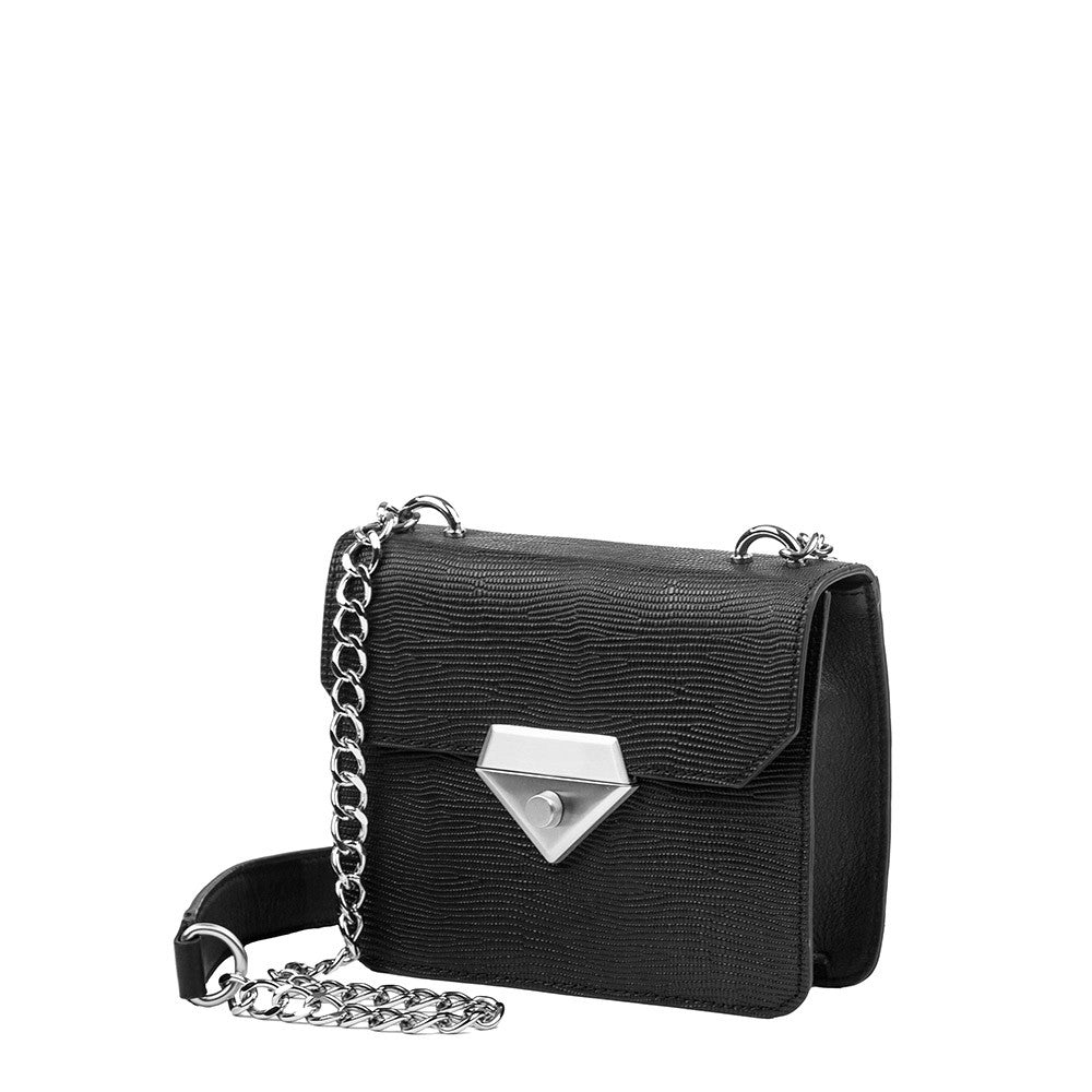 Linea Pelle Bowery Shoulder Bag in Black Lizard