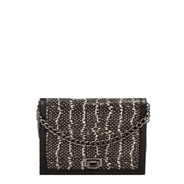 Linea Pelle Brooklyn Shoulder Bag in Black Stripe