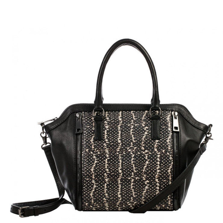 Linea Pelle Brooklyn Satchel in Black Stripe