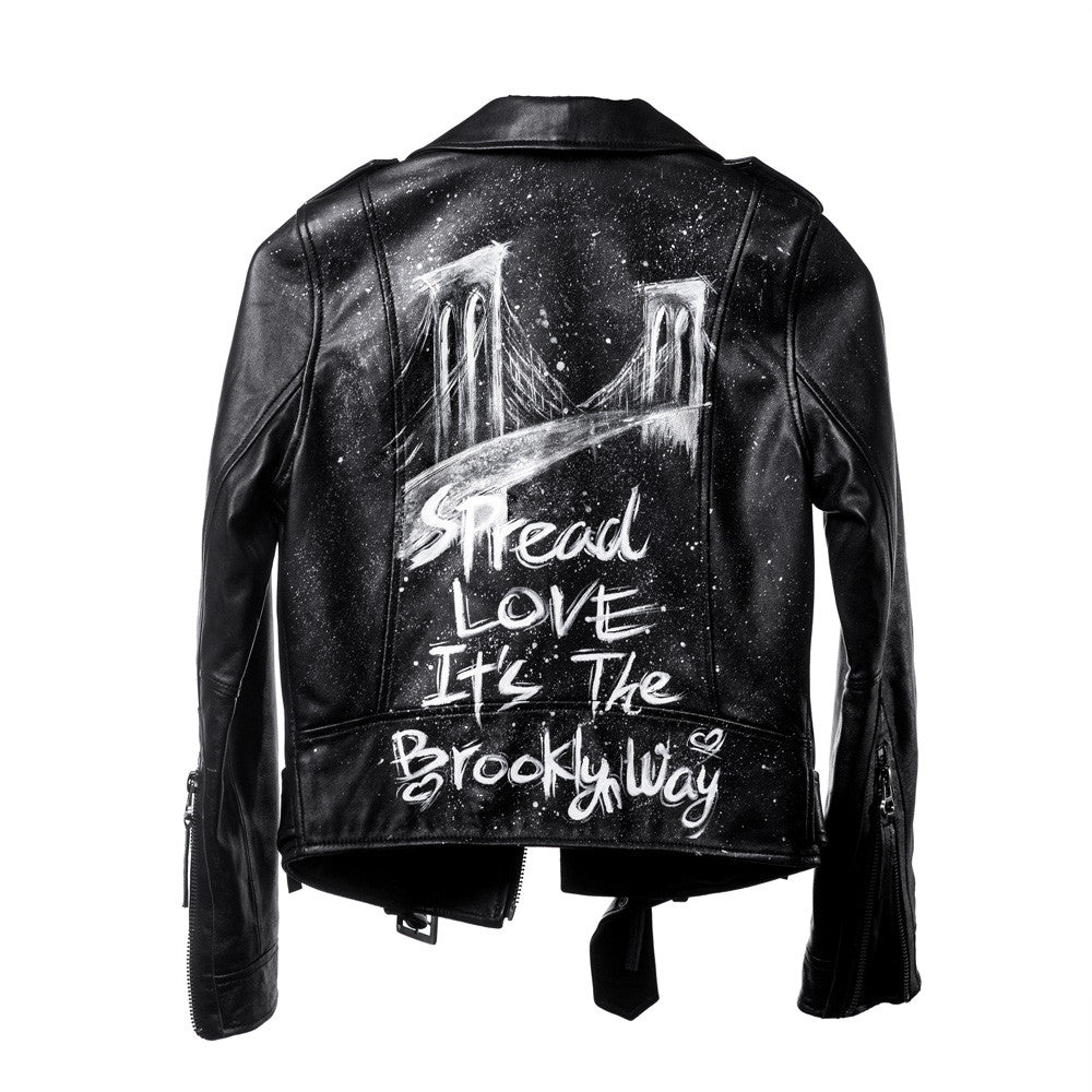 Linea Pelle Brooklyn Moto Leather Jacket in Black