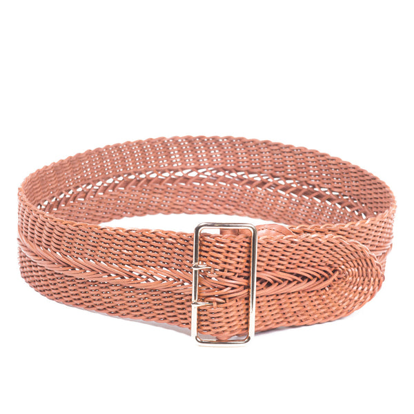 Linea Pelle Wide Braid Waist Belt in Nutmeg