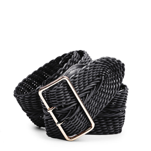 Linea Pelle Wide Braid Waist Belt in Black
