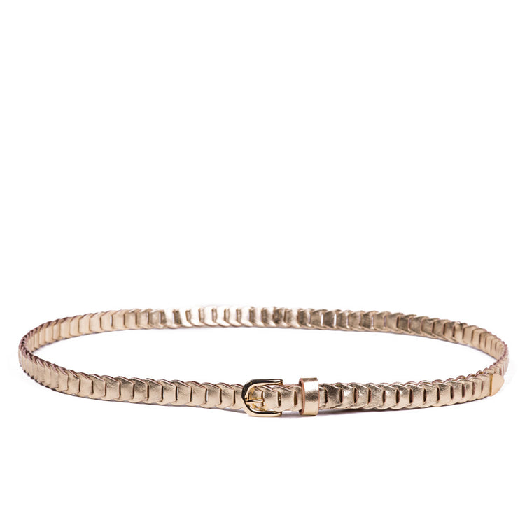 Linea Pelle Skinny Metallic Link Belt in Gold