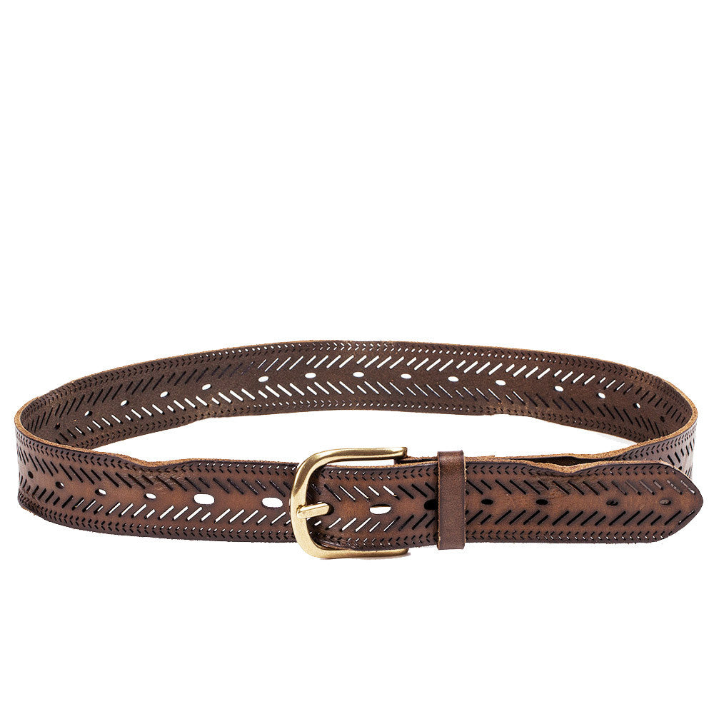 Linea Pelle Chevron Perforated Belt in Olive