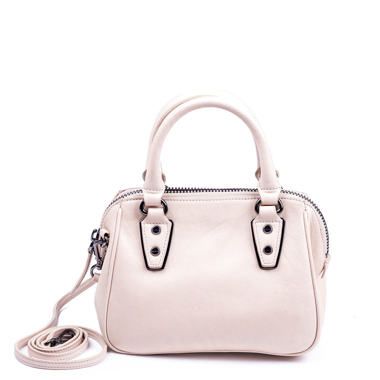 Linea Pelle Mini Satchel Bag in Bone