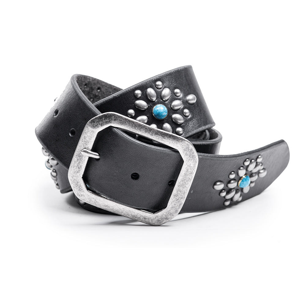 Studded Turquoise Vintage Belt | Black