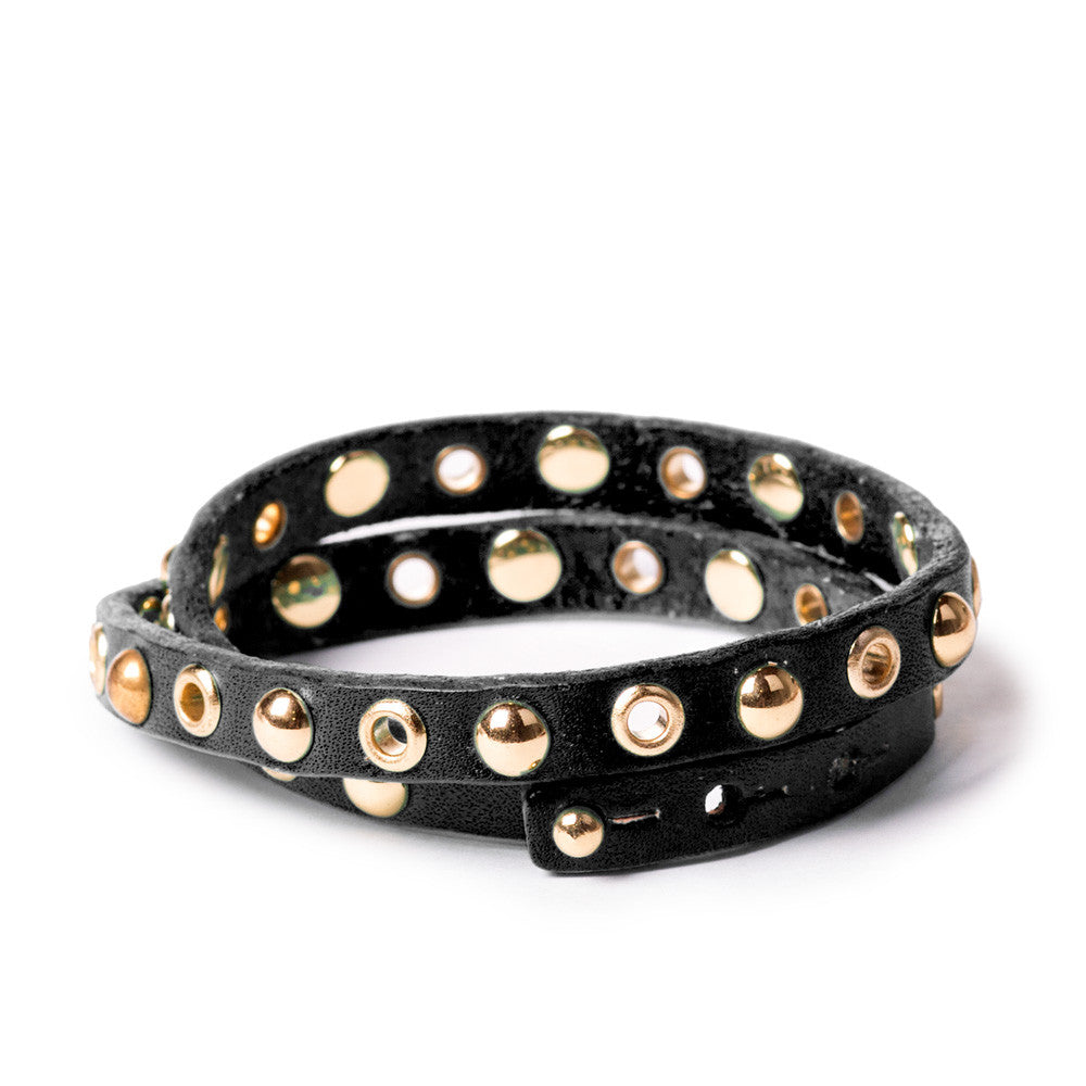 Linea Pelle Double Wrap Bracelet in Black