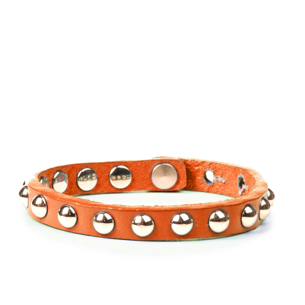 Linea Pelle Skinny Dome Stud Bracelet in Orange