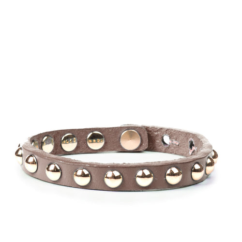 Linea Pelle Skinny Dome Stud Bracelet in Dark Brown