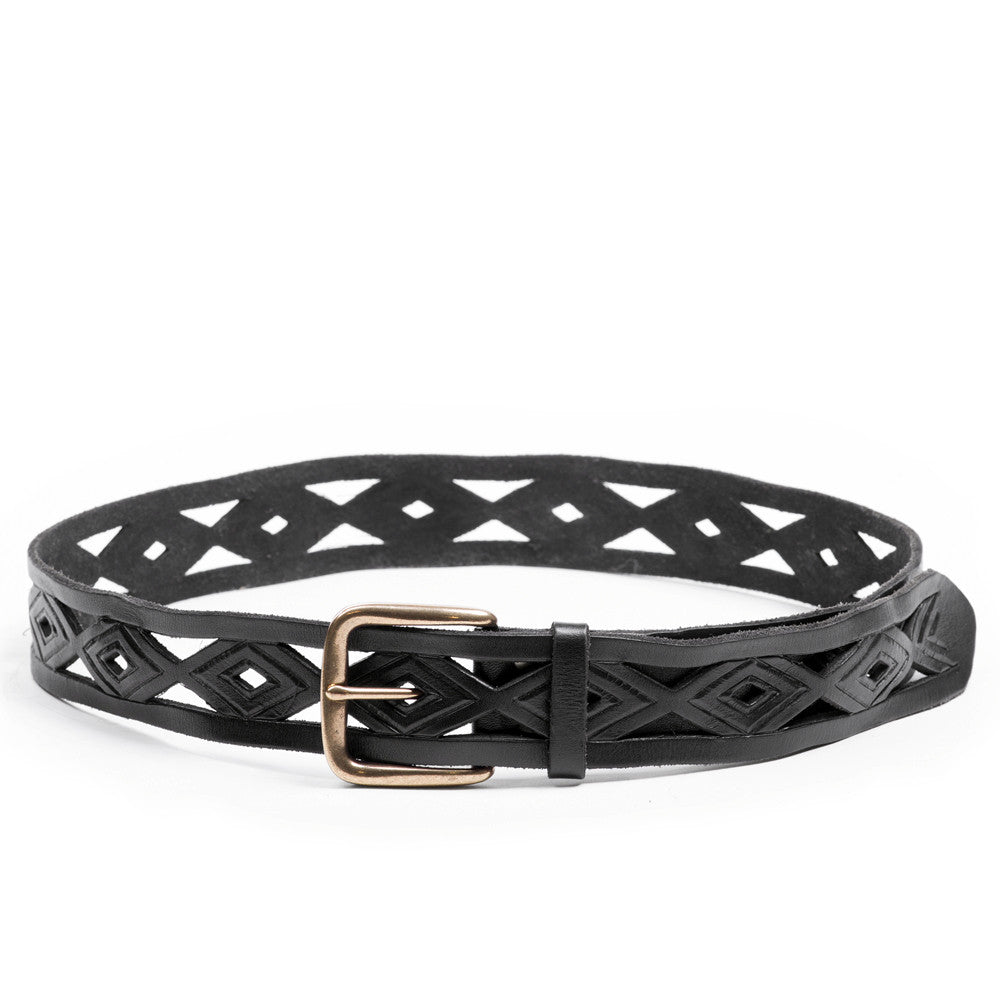 Linea Pelle Diamond Perforated Belt in Black