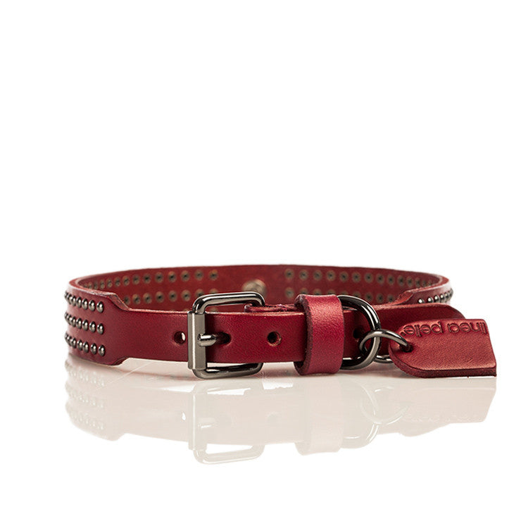 Linea Pelle Nailhead Stud Dog Collar in Red