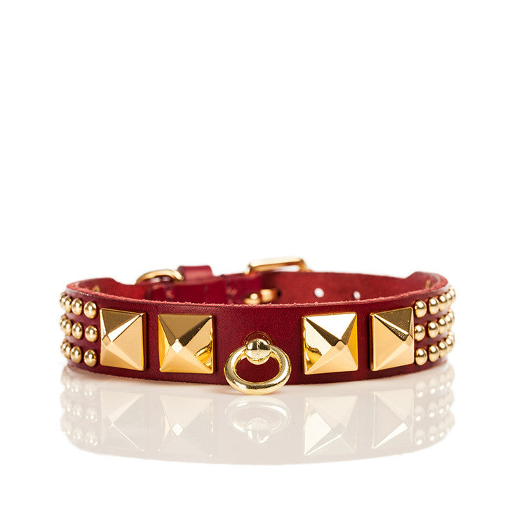 Linea Pelle Pyramid Stud Dog Collar in Red