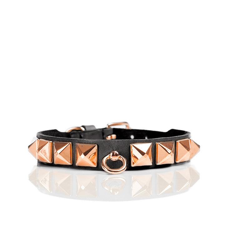 Linea Pelle Stud Dog Collar in Black