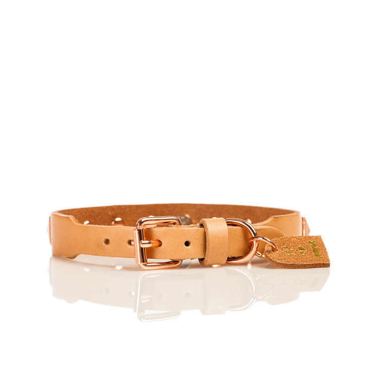 Linea Pelle Stud Dog Collar in Natural