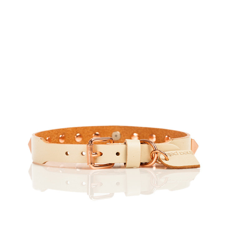 Linea Pelle Stud Dog Collar in Vanilla