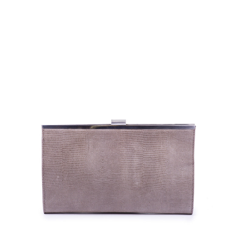 Linea Pelle Clutch in Embossed Grey