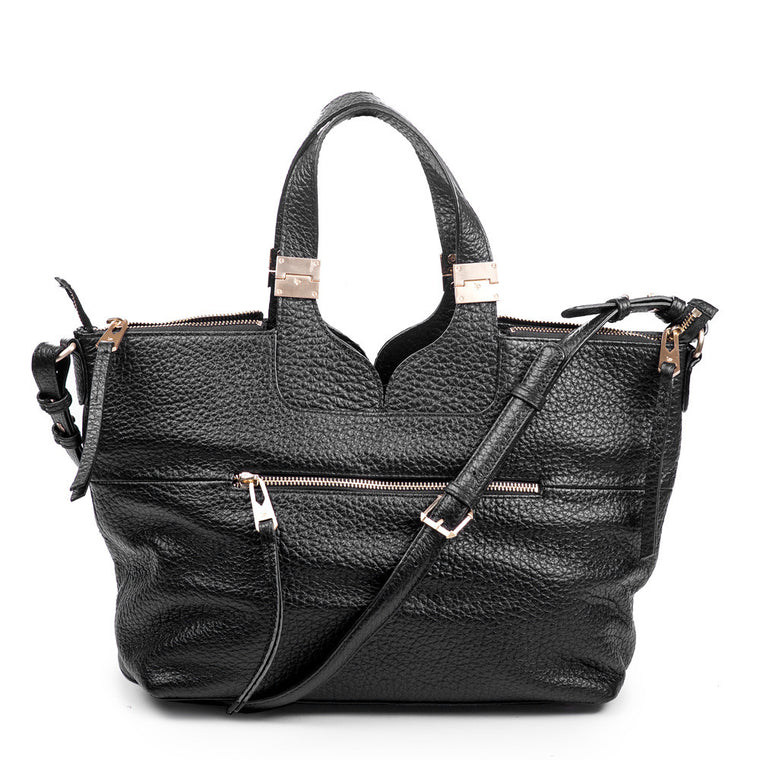 Linea Pelle Satchel Bag in Black