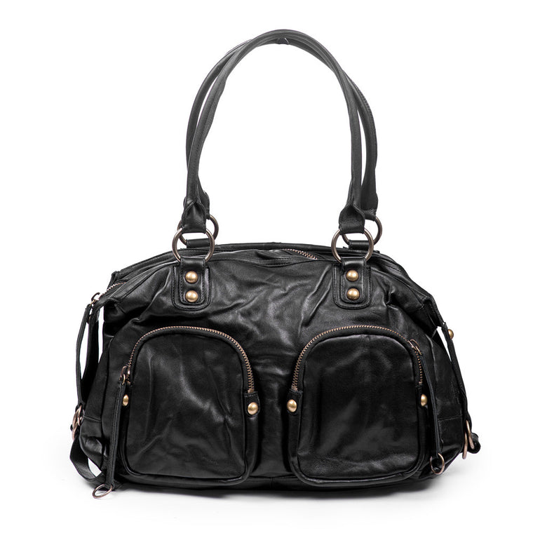 Linea Pelle Satchel Bag in Black with Gold Hardware