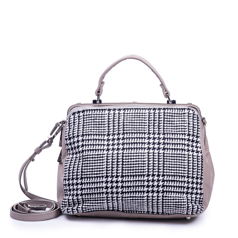 Linea Pelle Satchel Bag in Leather & Herringbone