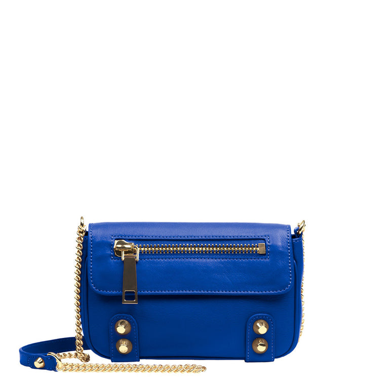 Linea Pelle Dylan Crossbody Mini Bag in Cobalt