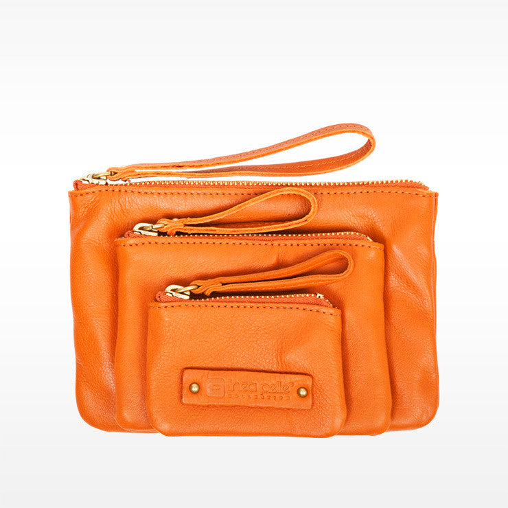Linea Pelle Cosmetic Bag Set in Zucca Orange