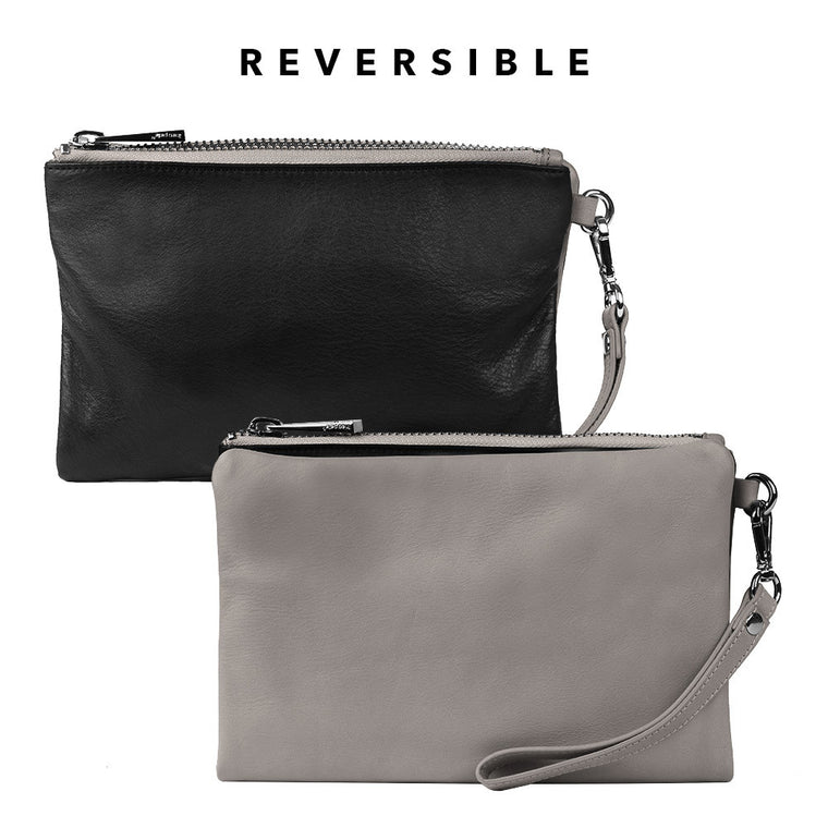 Linea Pelle Eden Reversible Wristlet in Grey and Black
