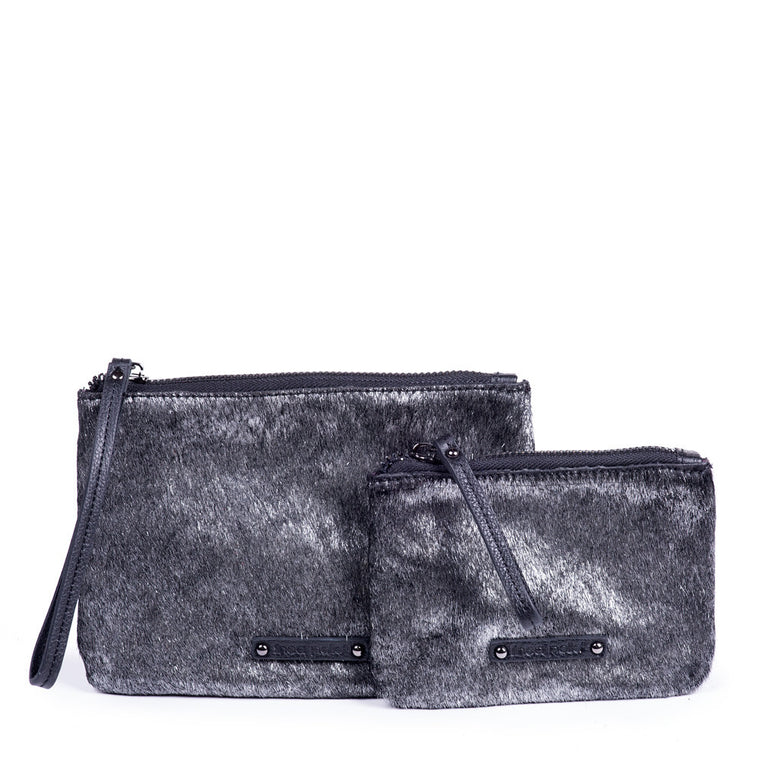 Linea Pelle Zip Pouches in Metallic Haircalf