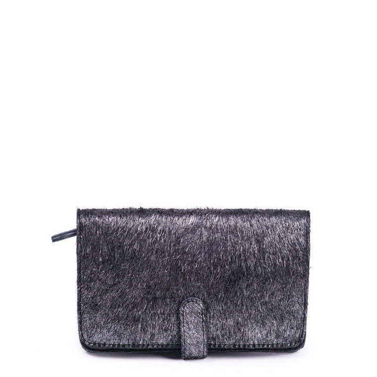 Linea Pelle Metallic Wallet in Haircalf