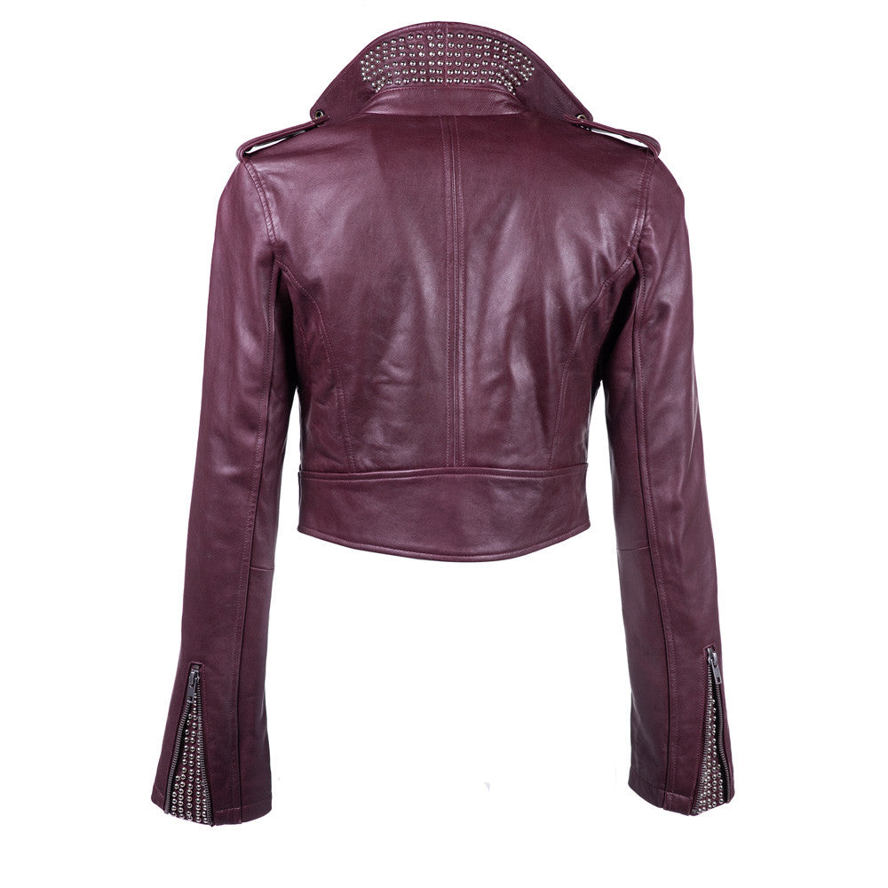 Linea Pelle Crop Leather Jacket in Crimson