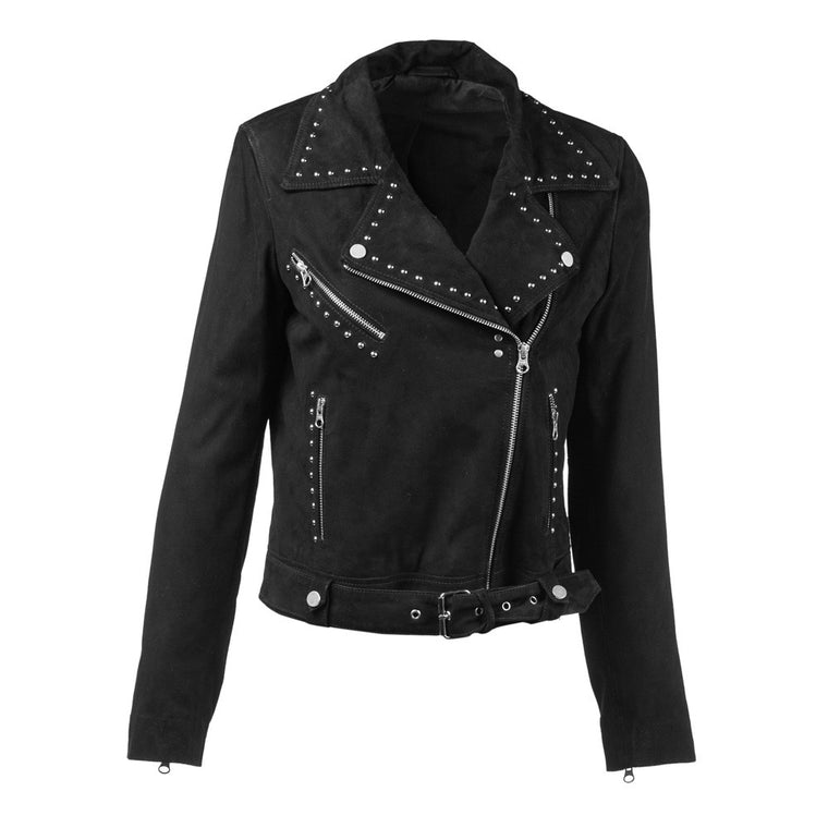 Linea Pelle Suede Moto Jacket in Black