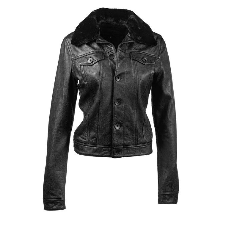 Linea Pelle Leather Jacket in Black