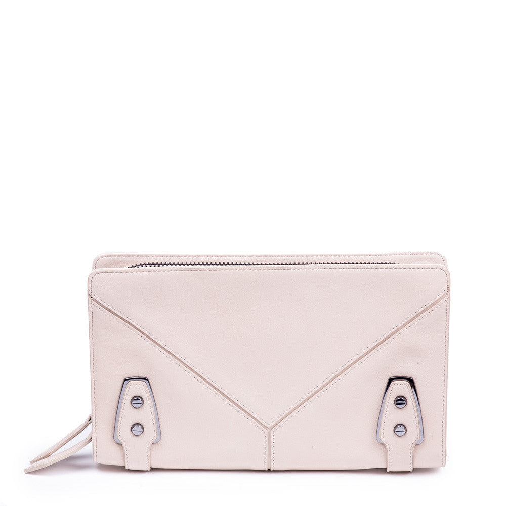 Linea Pelle Clutch in Stone by Linea Pelle