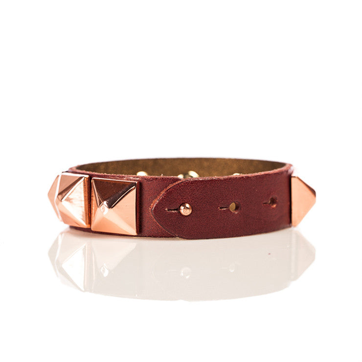 Linea Pelle Wide Stud Bracelet in Oxblood
