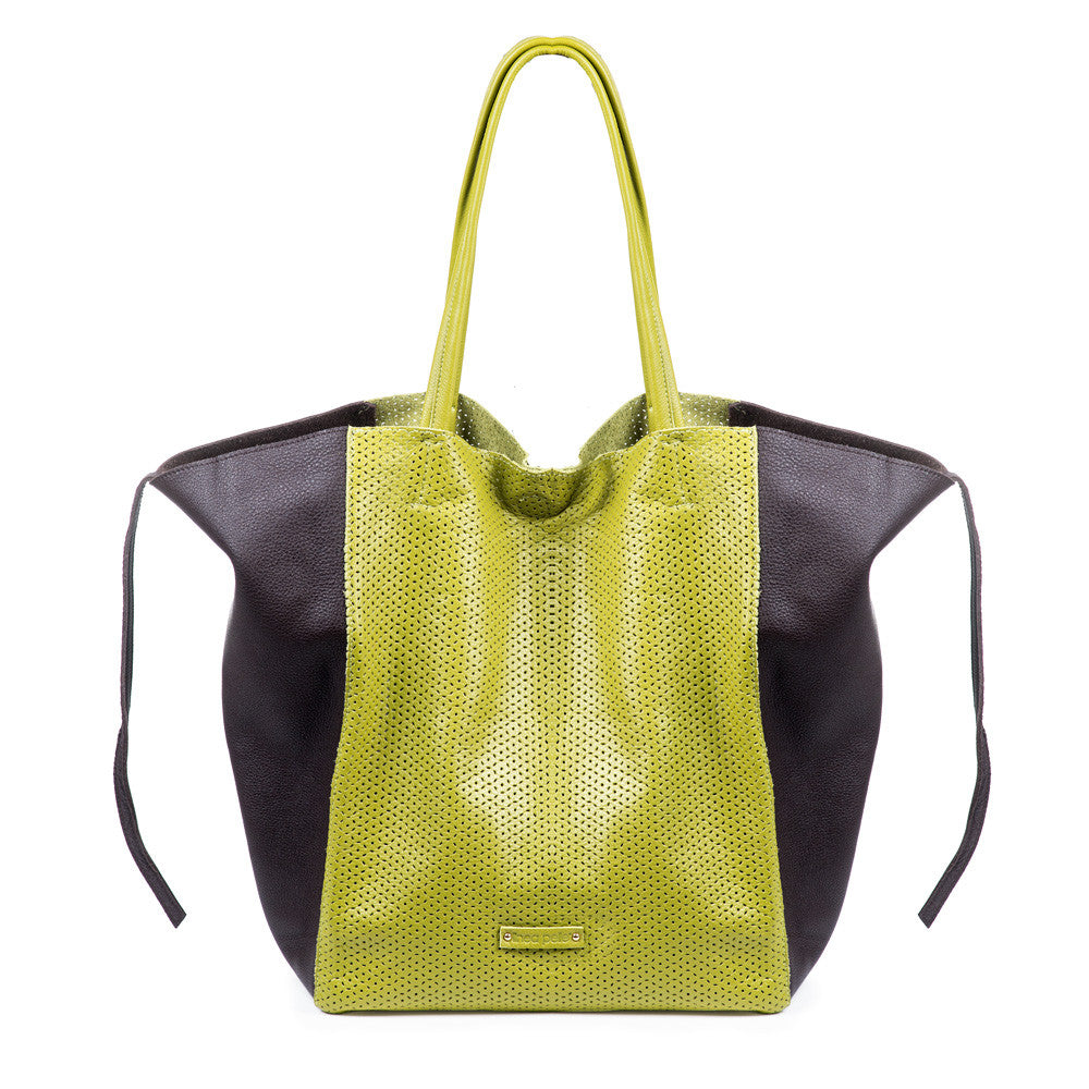 Linea Pelle Sybil Perforated Tote in Lime/Tmoro