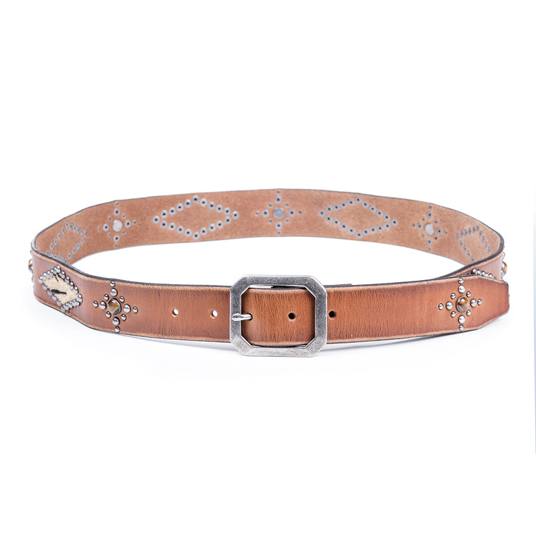 Studded Hair Calf Vintage Belt | Cognac