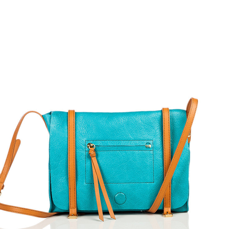 Linea Pelle Hunter Messenger Bag in Turquoise